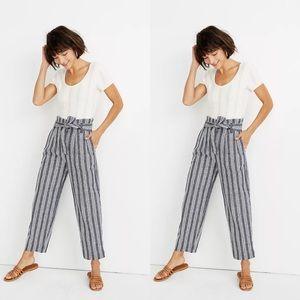 Madewell Paperbag Pants in Deep Indigo Stripe Sz 8